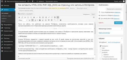 Исходный код на странице Wordpress