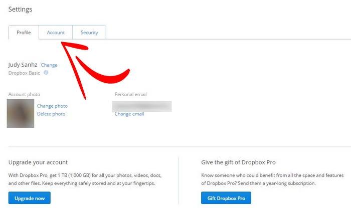 привязка Facebook к Dropbox