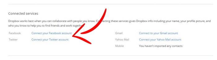 привязка сервисов в Dropbox