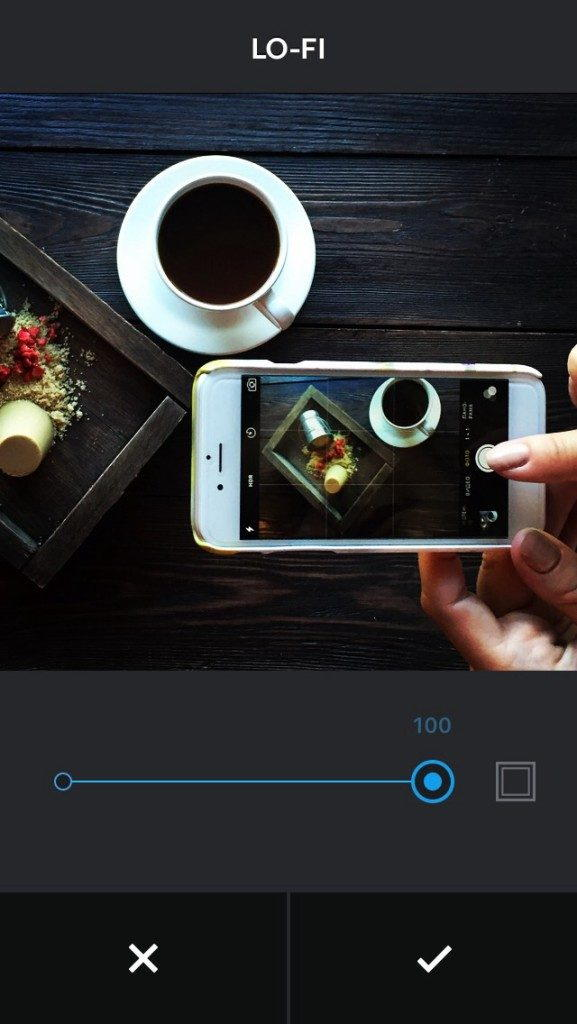 уменьшить интенсивность фото в Instagram